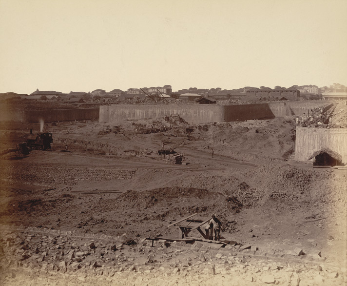 View of end of north jetty from the E. part of middle jetty visible [Victoria Dock construction, Bombay].